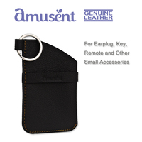 Amusent Handmade Genuine Leather Men's Key Chain Key Fob Key Pouch Key Organizer for Earphone and Remote