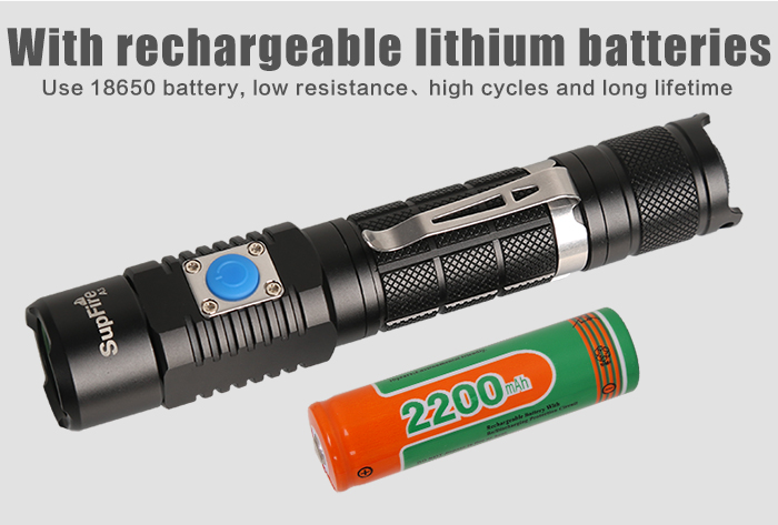 Middle and tail button switch rechargeable USB flashlight A3