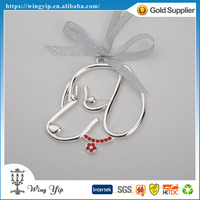 Tailor made trendy Dog Shape beaded Metal Craft Christmax Gift for Ornament