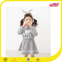 2016 new design girls cotton grey frock designs sports jersey dress for sports