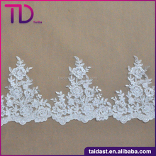 White Neck Lace Trim Embroidery Design For Garment Decoration