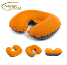 ultralight blowing inflatable U-Shape camping pillow neck protection waist pillow with fastener for camping, outdoor, hiking