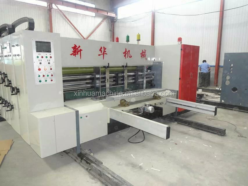 fully automatic flexo printer slotter die-cutter stacker machine used corrugated cardboard