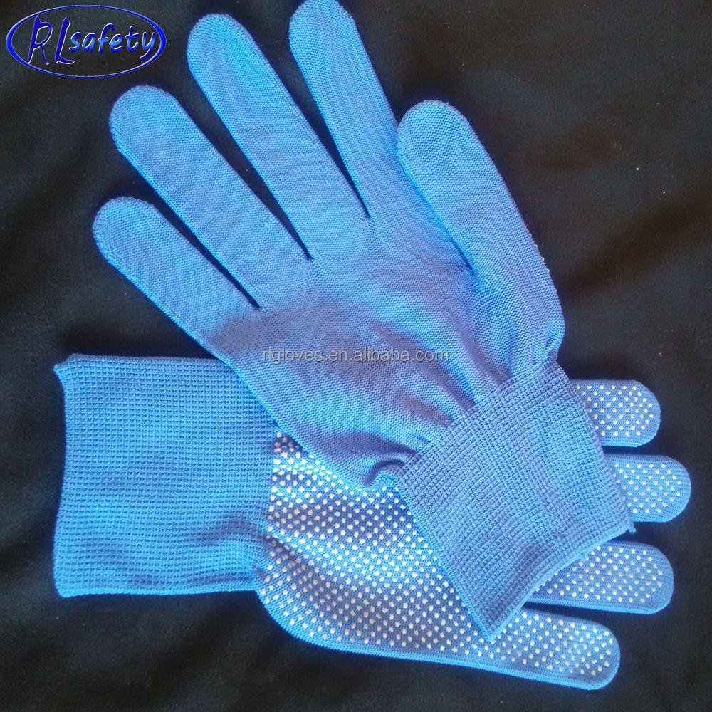 machine auto knitting best gloves size from 6' to 11' grey nylon gloves with mini Pvc dots