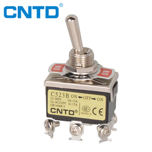 CNTD IP40 Protection Stay Put ON-OFF-ON Screw Terminal Mini DPDT Toggle Switch (C523B)