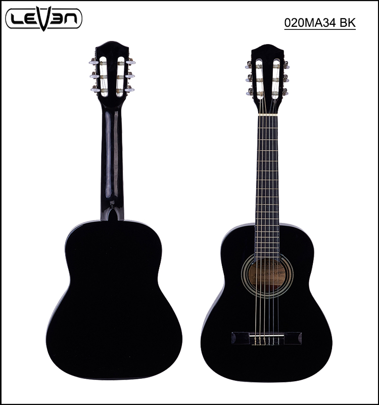 34 inch small black classical guitar with basswood top