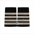 Silver Epaulettes for The Pilots Uniform | French Silver Wire Braid Epaulet on black | Aviation Uniform Epaulette