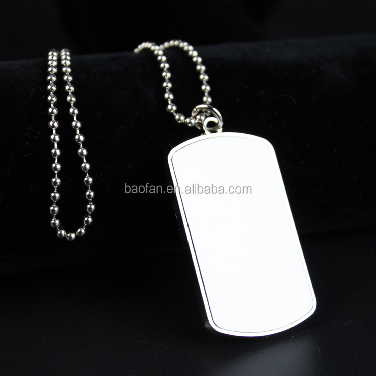 Wholesale Sublimation blank jewelry aluminium alloy necklace