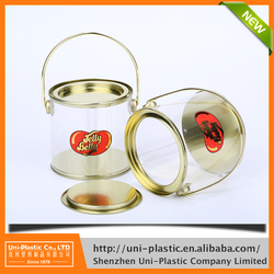 Alibaba china plastic candy container buckets with tin plate lid and sealed bottom