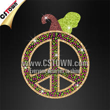 Halloween Peace Sign Rhinestone Pumpkin Transfer Design Glitter Hotfix