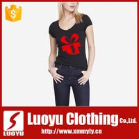 Best quality black short sleeve printing women t shirt from China