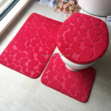 3pcs/set Soft Flannel Non Slip Absorbent Bathroom Mat Set with Toilet Lid Cover
