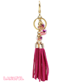 Whole Sale Special Red Leather Tassel Keychain Bag Charm For Gift