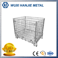 Industrial Stackable Welded Steel Wire Mesh Pallet Cage For Warehouse Storage(HJ-MC062)