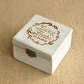 Personalized paulownia Wood Wedding Ring Valentines Engagement box with hot stamp logo on the top