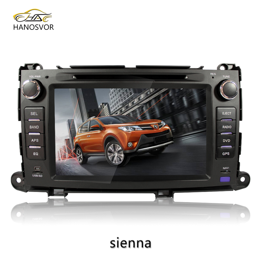 Double Din auto car dvd for toyota sienna car gps navigation BT /SD/USB/TV fan/map system