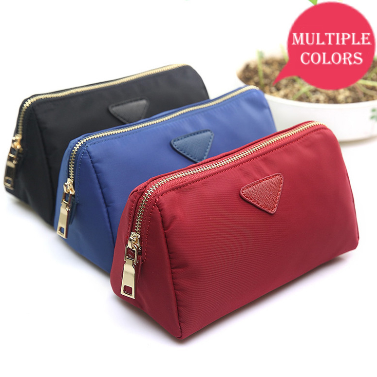 Custom waterproof printed red polyester cosmetic bag toiletry makeup pouch with zipper