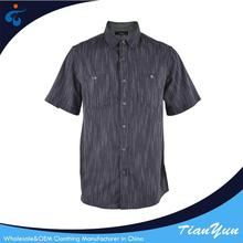 Manufactory wholesale designer woven casual striped shirt black