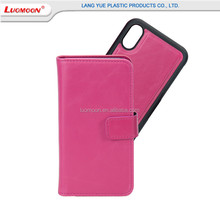 Separated PU mobile phone case for apple iPhone X with credit card holder 2 in 1 flip leather mobile phone case