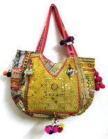 Vintage Banjara Tote Ethnic Tribal Gypsy Indian Embroidery Mirror Work Elegant Vintage Banjara Bag