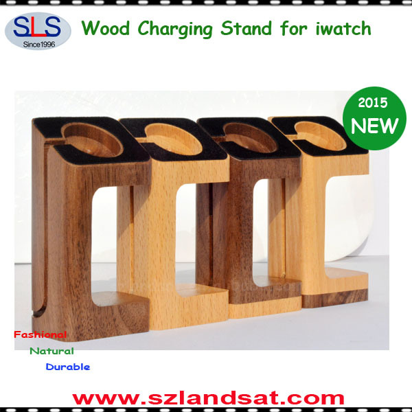 2015 NEW ARRIVAL natural wood display for apple watch wood charging stand BS800