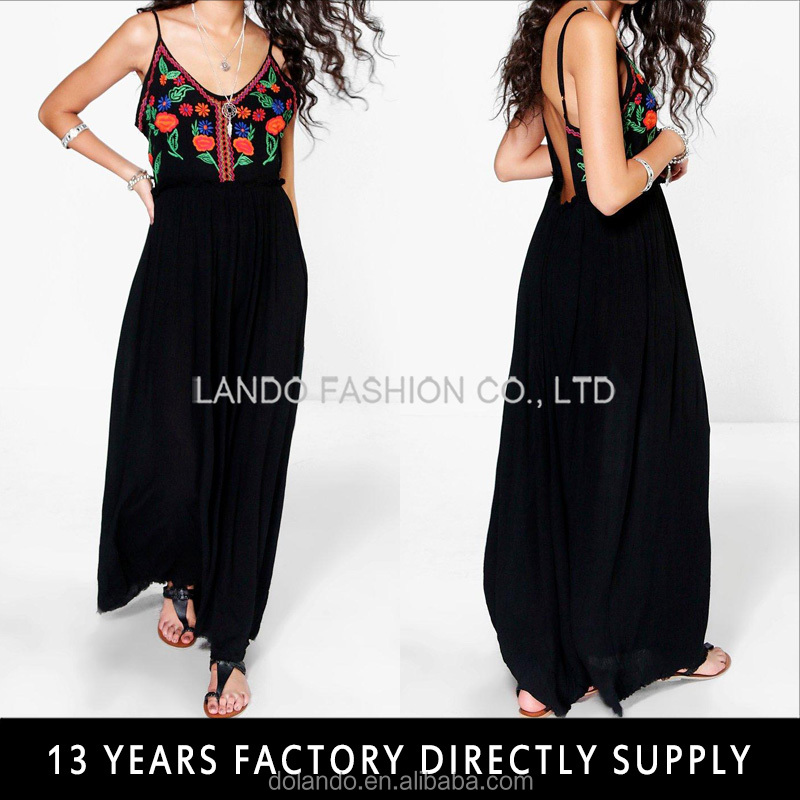 Wholesale Strap Backless Mexican Embroidered Maxi Dresses