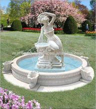 White marble garden water fountain with beautiful girl statues