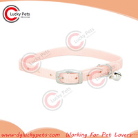light pink plain nylon cat collar with metal buckle and bell