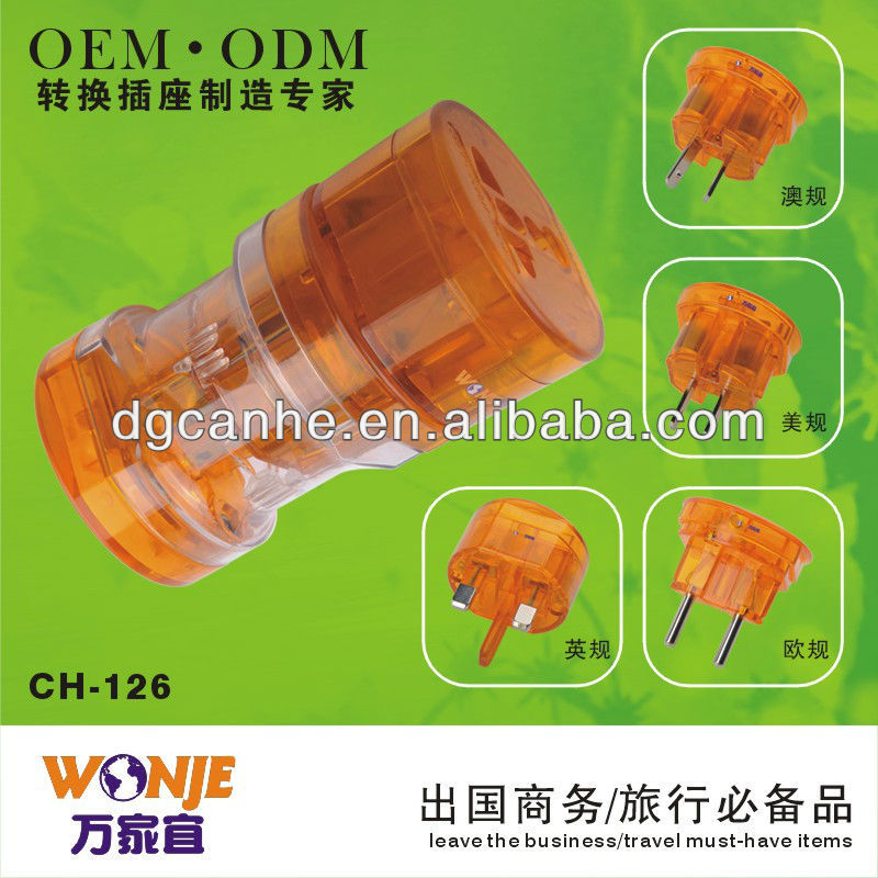 CE approved universal female male electrical extension plug travel accessory CH-126-1