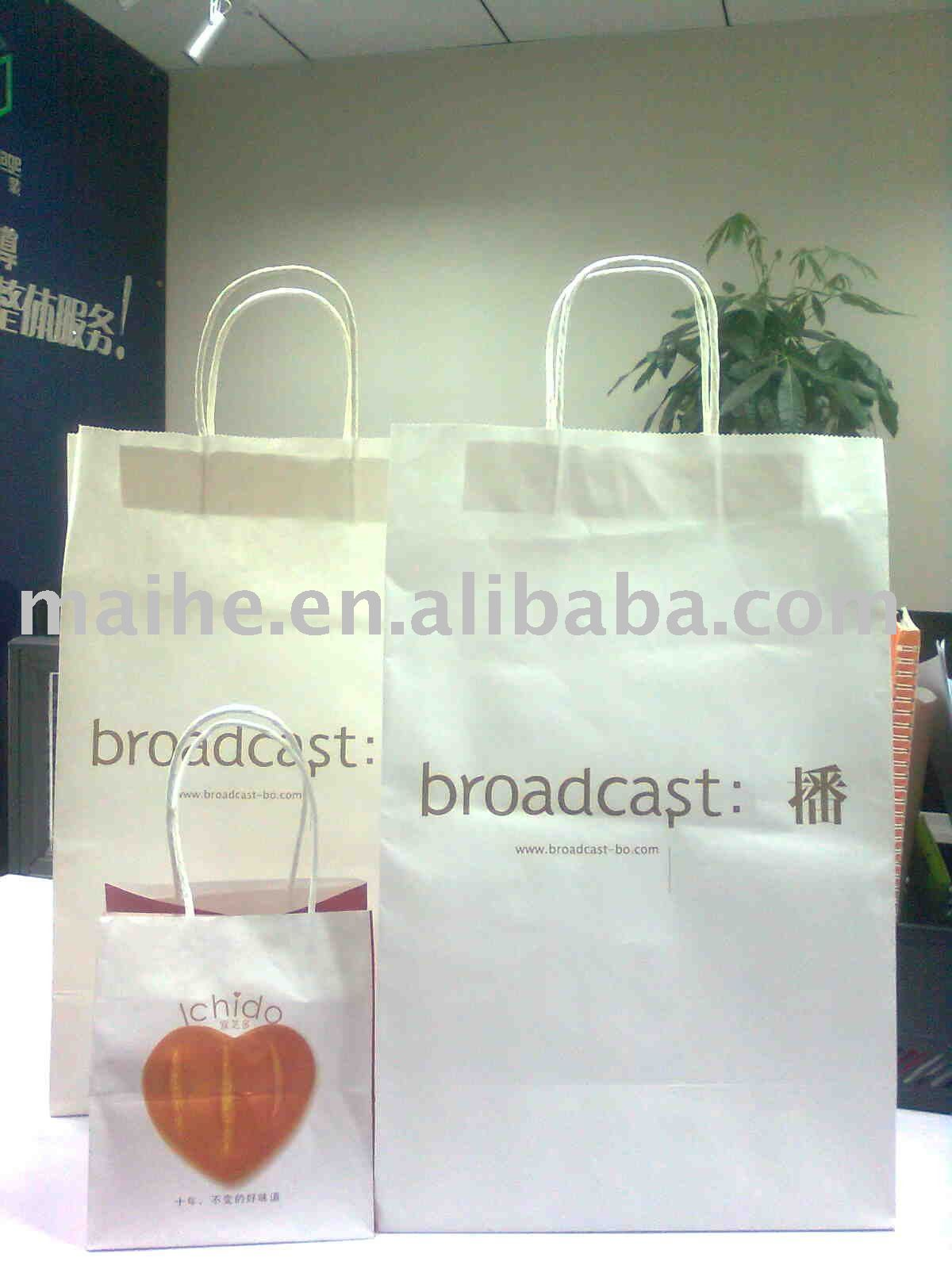 120gsm white kraft paper bag with twisted handle