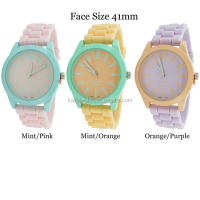 Geneva Platinum Cheap Silicon Jelly Pastel Double Colored Silicone Fashion Watch