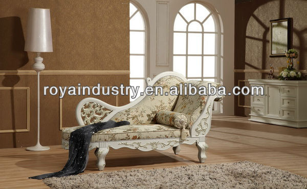 Hand solid wood carving European style lounge chaise EG001