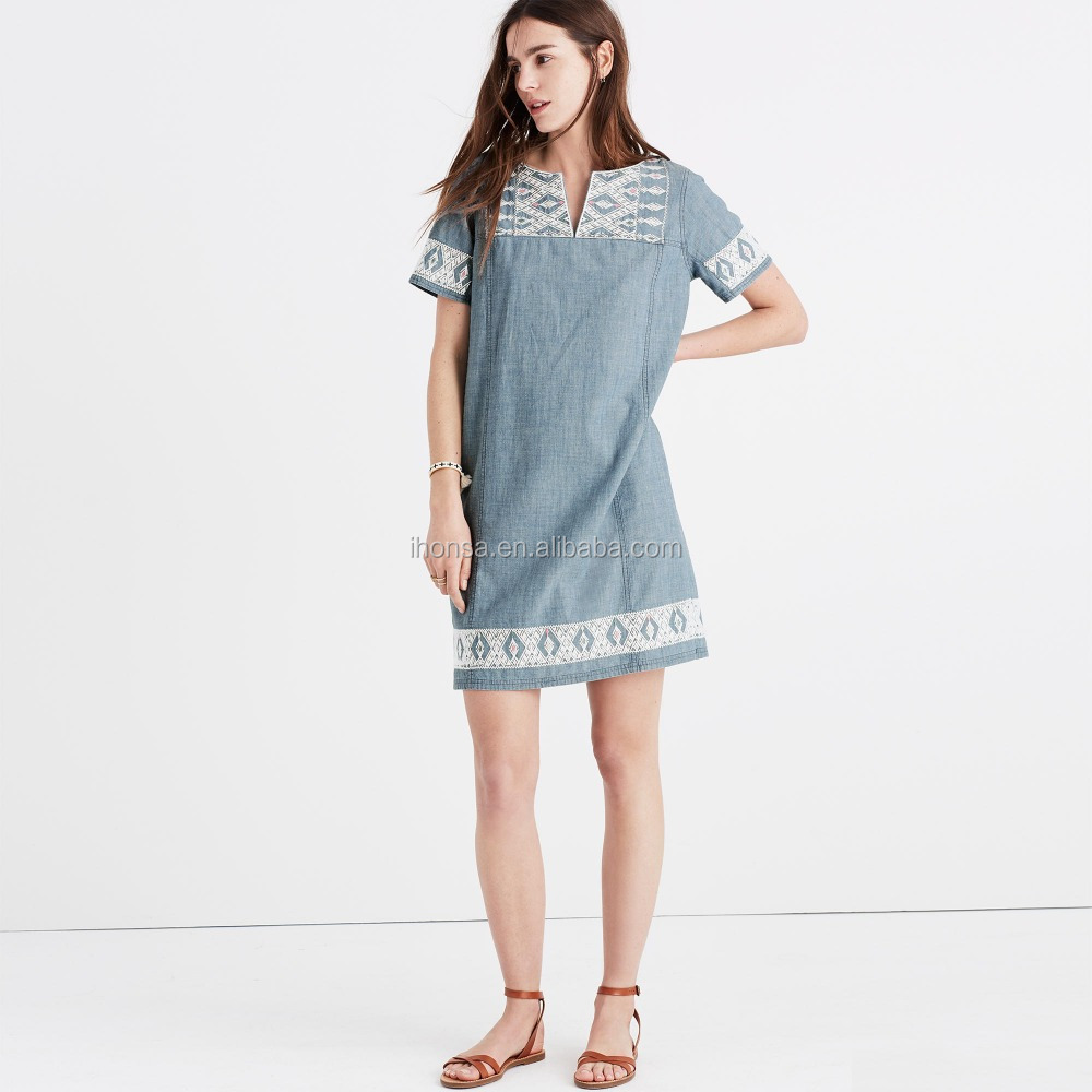 2017 Fshion wholesale embroidered chambray tunic dress