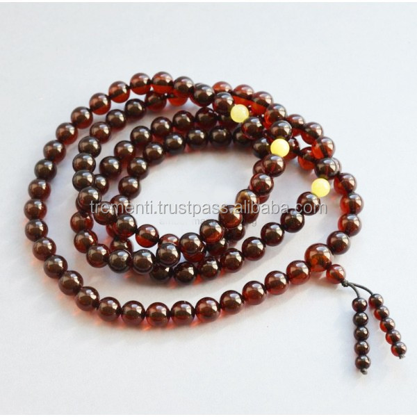 Cherry Amber Buddhist Rosary, 8 mm round beads