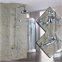 Wall Mounted Two Handles 8 Inch Bathroom Brass Shower Mixer Faucet Set with Handheld Spray