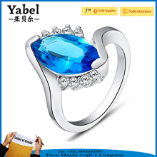 New Design Blue Gemstone Vogue Jewelry Silver Wedding Girls Rings