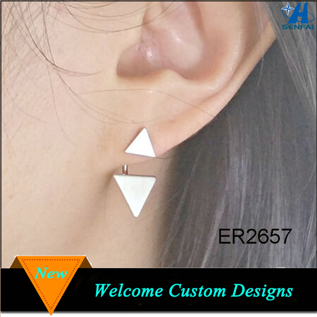 Home and Garden New Products 2015 Scratch dual triangle ear jacket, Cute stud earring, Girl's boho friendship ear jacket