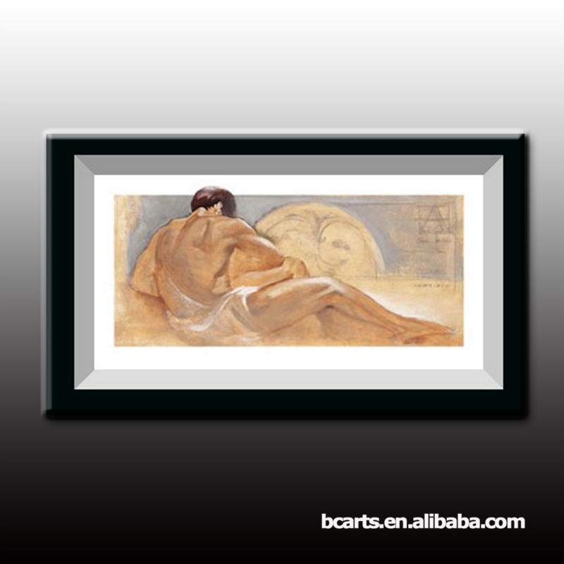100% Handmade impressionist sexy nude man and woman oil painting on canvas