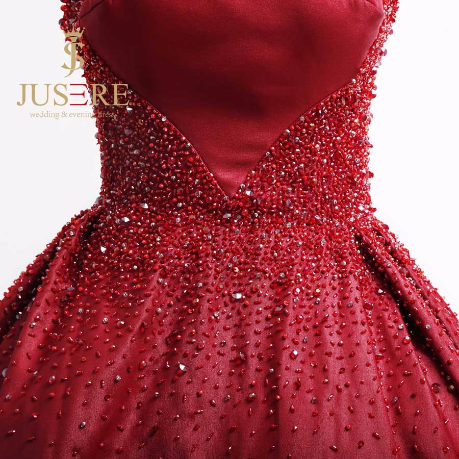 Gorgeous Red Straps Sweetheart Luxury Beading Long Evening Dress 2016