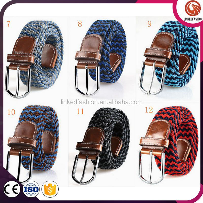 High quality Elastic High Stretch two colors mixed Braided uk elastic stretch belts