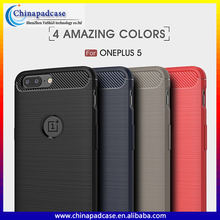 High quality Logo Cut Carbon fiber brushed silicone shockproof cover Case for Oneplus 5/Ultra slim tpu back cover for Oneplus 5