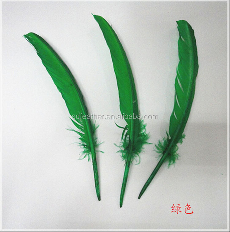 Wholesale price green turkey wing back feather, turkey wign feather