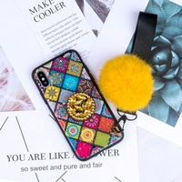 Wholesale 2019 good quality Fashion cute bling Fur Ball mobile phone case for Iphone x