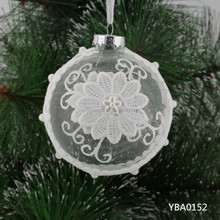 Modern design white christmas glass ball flowers painted cratf