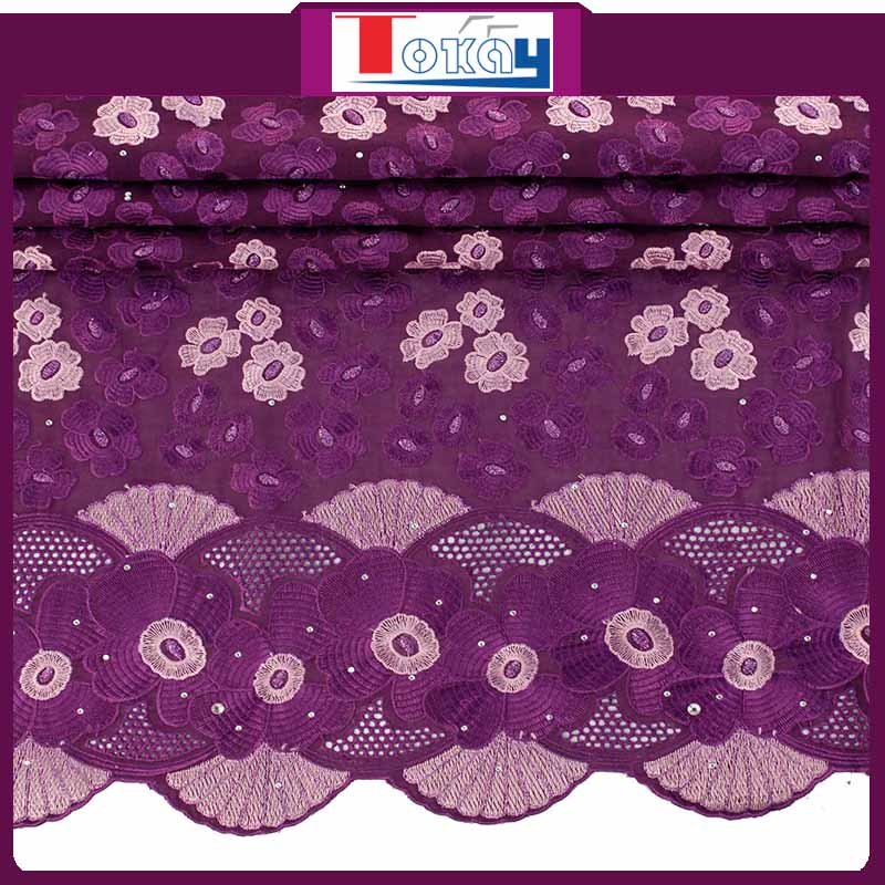 High Quality African Purple Swiss Velvet Lace Fabric