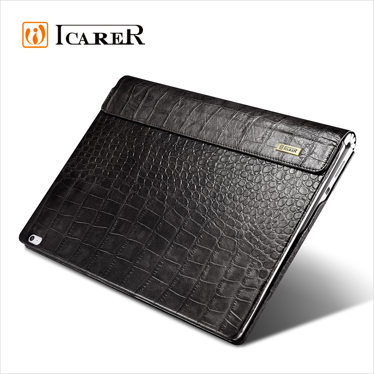 ICARER Genuine Leather Case for Microsoft Surface Book Detachable Flip Cover with Stand Function Crocodile Grain Series