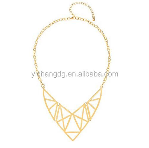New Design Gold Plated Stainless Steel Art Deco Geometric Bib Necklace Of Length 46-48cm