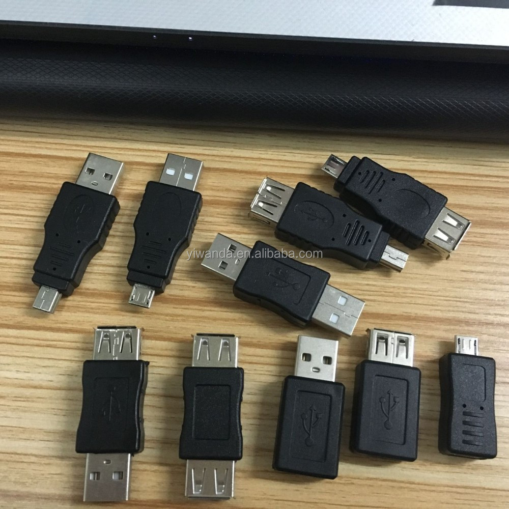 OEM USB2.0 adapter/connector micro usb male to mini usb female black