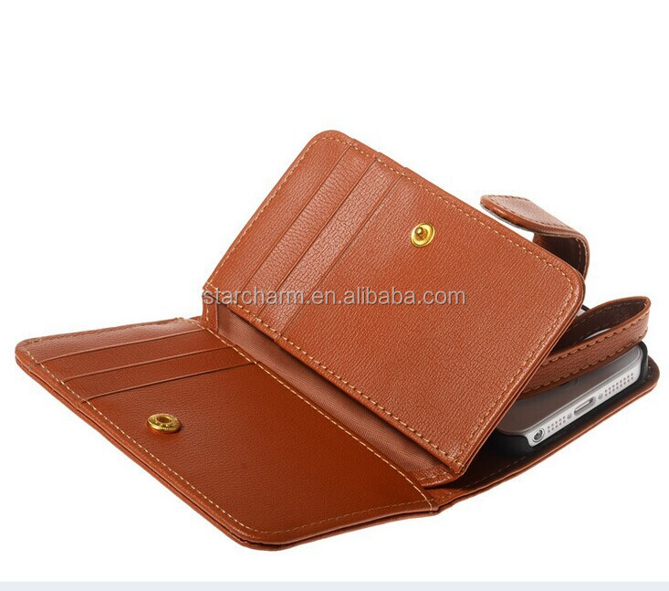 multi-function mobile phone pouch money case for Iphone 5 5s leather case
