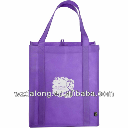 purple factory direct Grocery Tote Shopping Bag Reinforced Base Reusable Non Woven bag